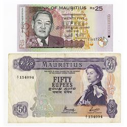 Bank of Mauritius, ND 1967 and 2006 Replacement Issue Banknotes.