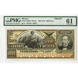 Banco De Londres y Mexico, Unlisted 1889 Proof Face Banknote.