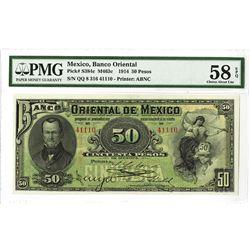 Banco Oriental de Mexico, 1914 Issued Banknote.