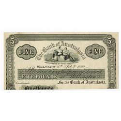 "Bank of Australasia, February 6th, 1899, ""Wellington Branch"" Proof Banknote Rarity."