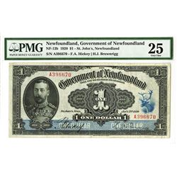 Government of Newfoundland, 1920 Issued Banknote.