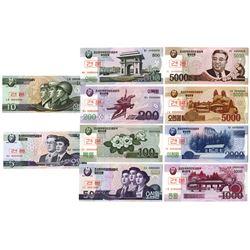 Korean Central Bank, 2002-2008 (2009) Specimen Banknote Set of 9 Notes (10 Sets).