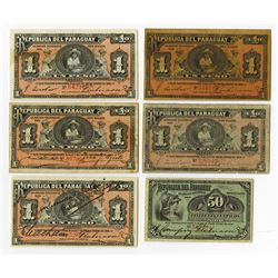 Republica del Paraguay, 1907-1920, Group of 6 Issued Notes.