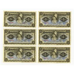 Banco de la Republica del Paraguay, L.1907, Lot of 9 Issued Banknotes.