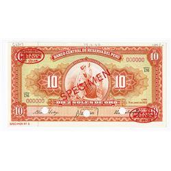 Banco Central De Reserva Del Peru, 1962 Specimen Banknote.