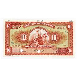 Banco Central De Reserva Del Peru, 1967Specimen Banknote.