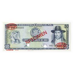 Banco Central De Reserva Del Peru, 1970 Specimen Banknote.