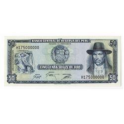 Banco Central De Reserva Del Peru, 1975pecimen Banknote.