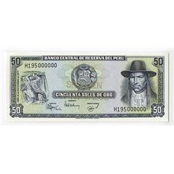 Banco Central De Reserva Del Peru, 1977pecimen Banknote.