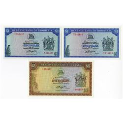Reserve Bank of Rhodesia, 1976-1979 Replacement Issue Banknote Trio.
