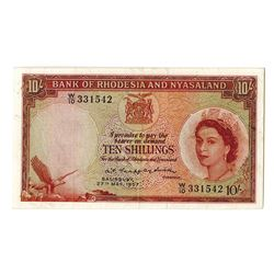 Bank of Rhodesia and Nyasaland, 1957 Issue Banknote.