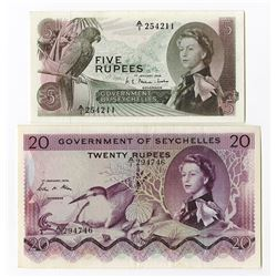 Government of Seychelles, 1968 and 1974 Banknote Duo.
