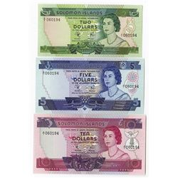 Solomon Islands Monetary Authority, 1971, 1981 ND Issue Trio with Matching Serial Numbers.