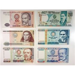 Peru and Uruguay, Lot of 6, 1980s Replacement Notes.