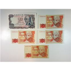Banco De Espana, Assortment of 5 Replacement Notes, ca.1970 to 1980.
