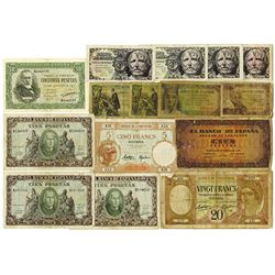 Banco de Espana & Banque de l'Indo-Chine, 1920s-1940s, Group of 15 Issued Notes.
