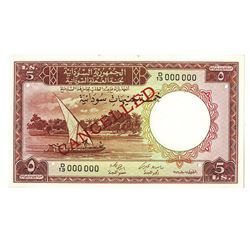 Sudan Currency Board, 1956, Specimen Note.