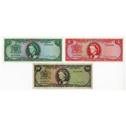 Central Bank of Trinidad and Tabago, L.1964 Banknote Trio.
