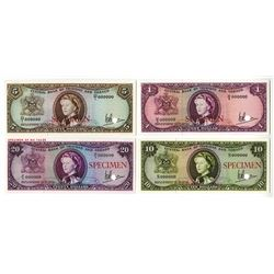 Central Bank of Trinidad and Tabago, L.1964 Specimen Color Trial Trio and $20 Specimen.