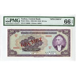 Central Bank of Turkey, Third Issue, 1930 (ND 1942) Specimen Banknote.