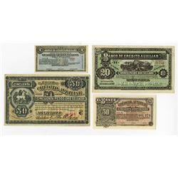 Banco de Credito Auxiliar, 1880s, Group of 4 Issued Notes.