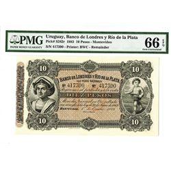Banco De Londres y Rio de la Platat, 1883 Remainder Banknote.