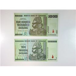 A Pair of Reserve Bank of Zimbabwe High Denomination Replacement Notes.
