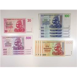 Reserve Bank of Zimbabwe, An Assortment of 12 Mostly Uncirculated  2007 Reserve Bank of Zimbabwe Rep