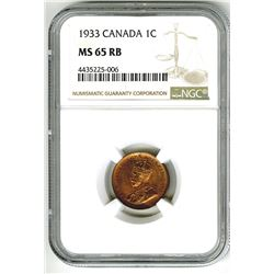 Canada, 1933 1 Cent, NGC MS 65 RB