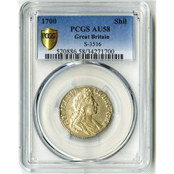 Great Britain. 1700 Shilling, S-3516, PCGS graded AU58.