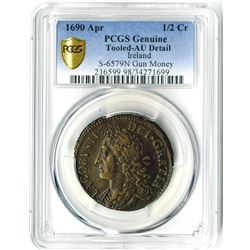 Ireland. Gun Money, 1/2 Crown, 1690 Apr, PCGS graded Genuine.