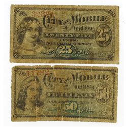 City of Mobile, 1873 Scrip Note Pair.
