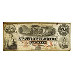 State of Florida, $2 1864, Cr-39, Issued Obsolete Banknote