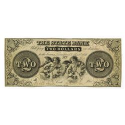 State Bank, Lecompton, K.T., 1856 Issued Obsolete Banknote.