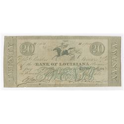 Bank of Louisiana, 1862 Issued Obsolete Banknote.