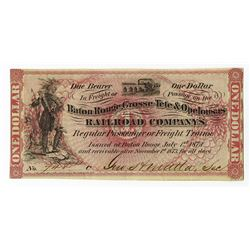 Baton Rouge, Grosse-Tete & Opelousas, 1873 Issued Obsolete Banknote.