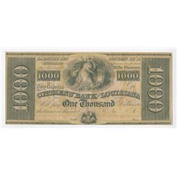 Citizens' Bank of Louisiana. 18xx (ca.1840's) $1000 Unissued Obsolete Banknote.