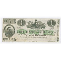 Parish of Saint John the Baptist, 1862 Obsolete Scrip Note.