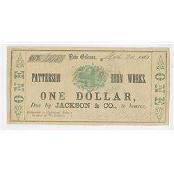 Patterson Iron Works, 1862 Issued Obsolete Scrip Note.