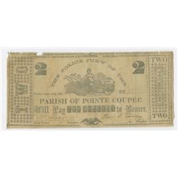 The Police jury of the Parish of Pointe Coupee, 1862 Obsolete Scrip Note.