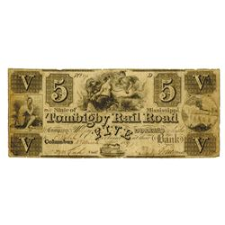 Tombigby Rail Road Co., 1837 Issued Obsolete Banknote.