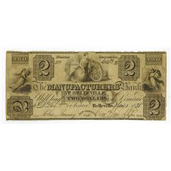 Manufacturers' Bank at Belleville, 1838 Issued Obsolete Banknote.