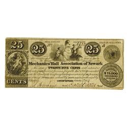 Mechanics Hall Association of Newark, 1837, 25cts Issued Obsolete Scrip Note.
