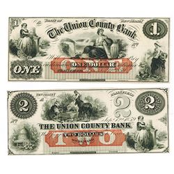 Union County Bank, 1859 Obsolete Banknote Pair.