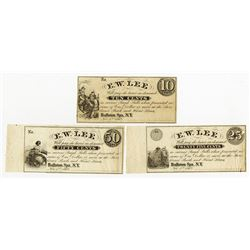 Ballston Spa, NY. E.W. Lee 1862 Remainder Set of 3 Notes.