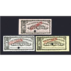 Van Horn & Ellison's Celebrated Soda Water Scrip Note trio.