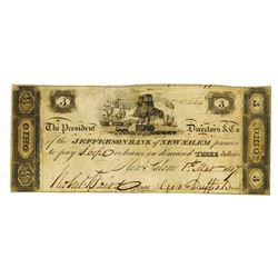 Jefferson Bank of New Salem, 1817 $3 Issued Obsolete Banknote