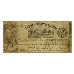Bank of Pottstown, Limerick and Colebrookdale Turnpike Road Company, 1862 Issued Obsolete Scrip Note