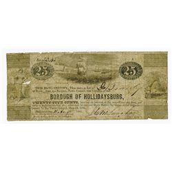 Borough of Hollidaysburg, 1841 Obsolete Scrip Note.