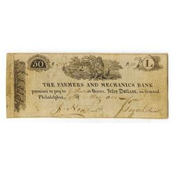 Farmers and Mechanics Bank, 1814 $50 Issued Obsolete Banknote, Haxby Plate Note.